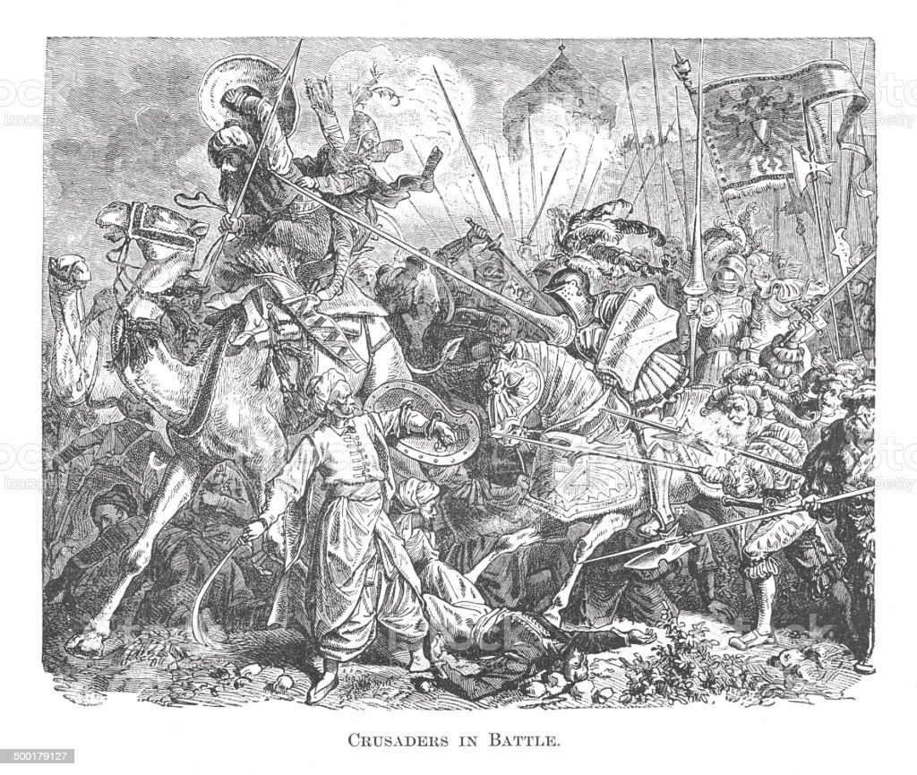 Crusaders in Battle (antique engraving) royalty-free stock vector art