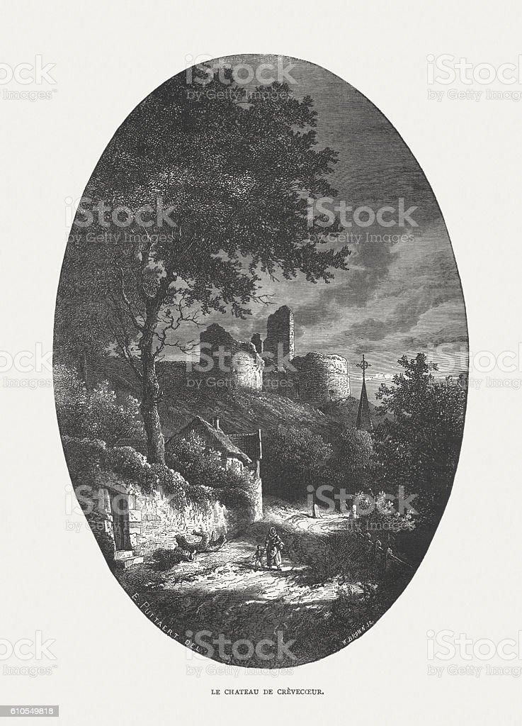 Crèvecœur Castle, Belgium, wood engraving, published in 1877 vector art illustration