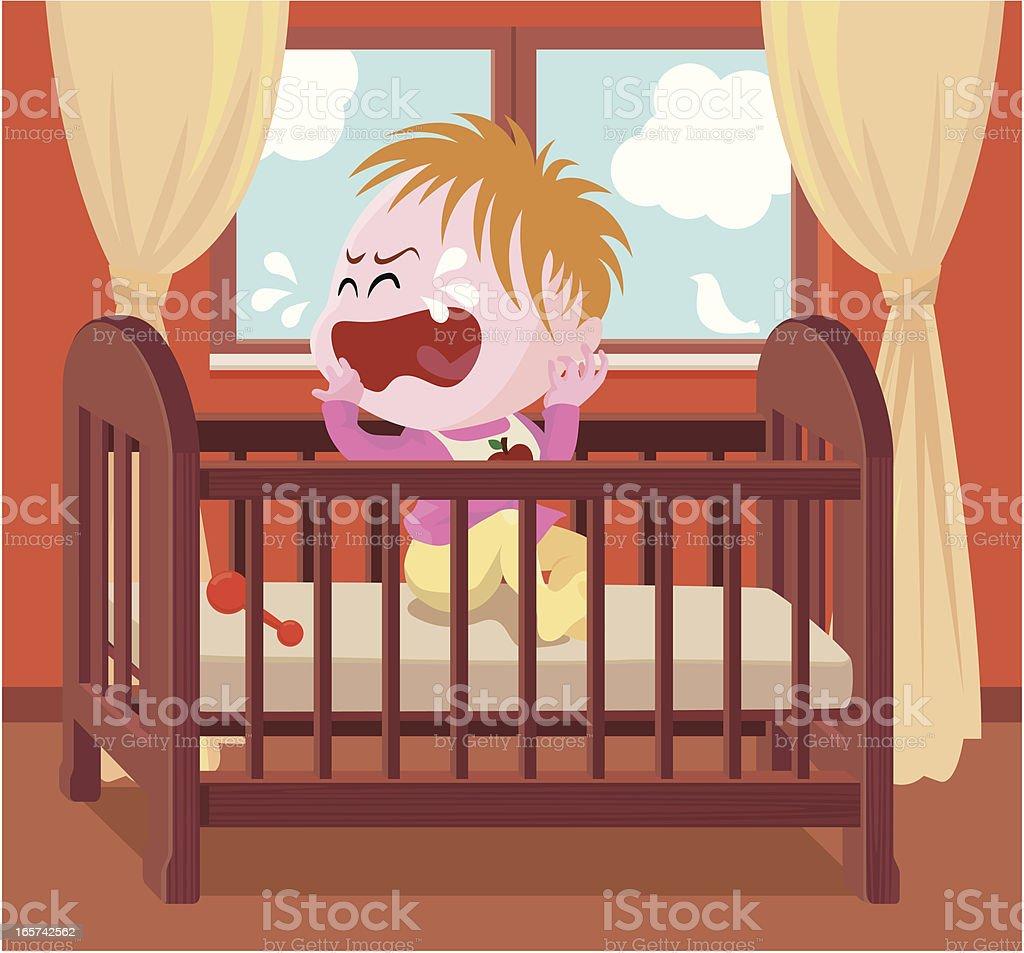 crying baby in crib vector art illustration