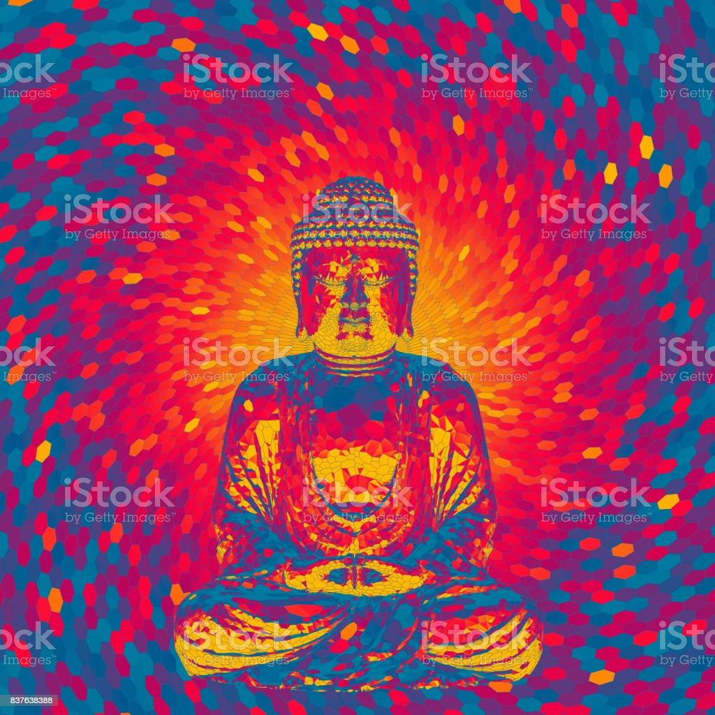 Crystal Buddha concept vector art illustration