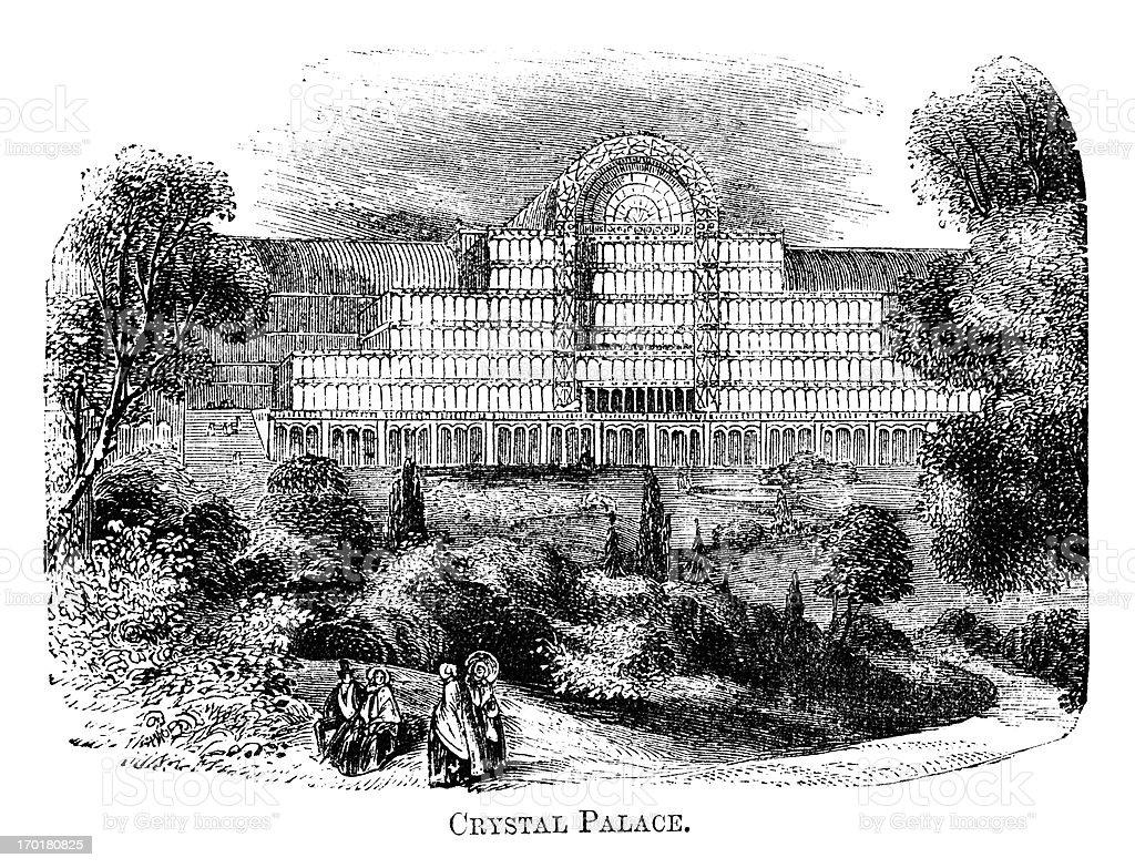 Crystal Palace, Sydenham (1871 engraving) royalty-free stock vector art