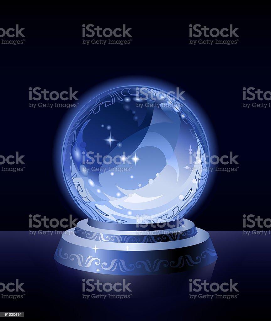 Crystal scrying ball vector art illustration