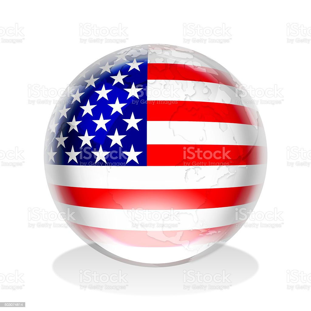 Crystal sphere of American flag and world map vector art illustration