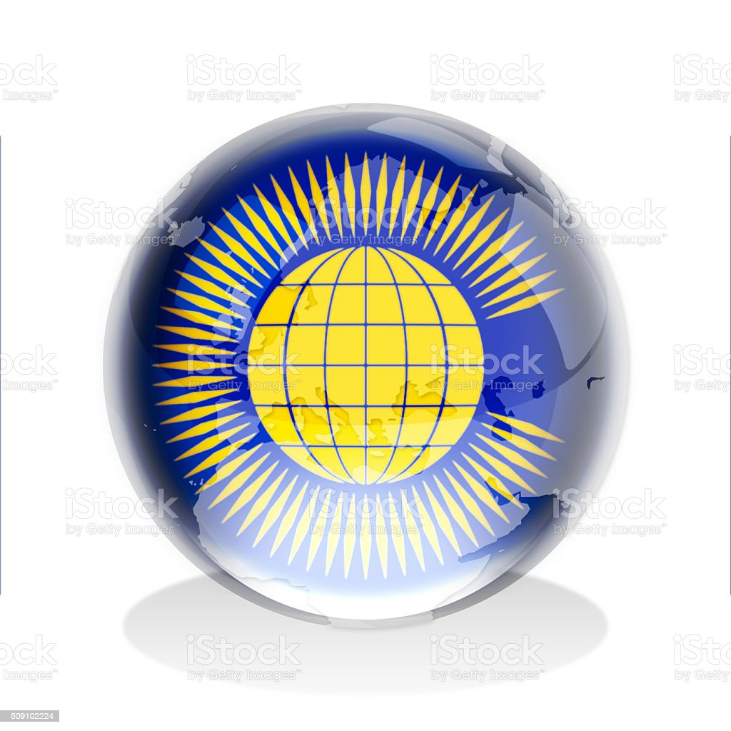 Crystal sphere of Commonwealth flag with world map vector art illustration