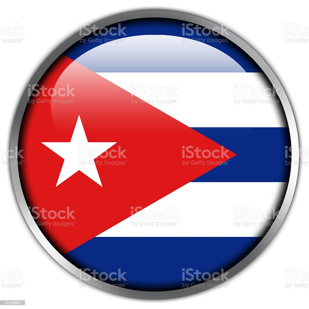 Cuba Flag glossy button royalty-free stock vector art