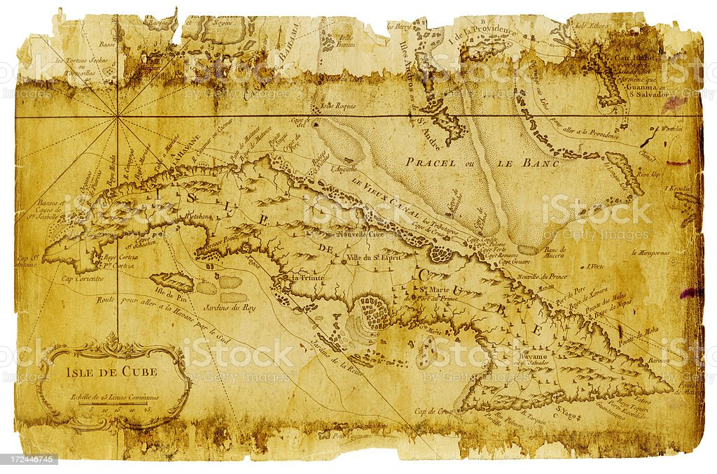 cuba map 1700 royalty-free stock vector art