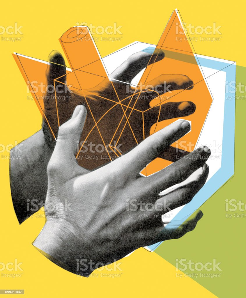 Cube in hands vector art illustration