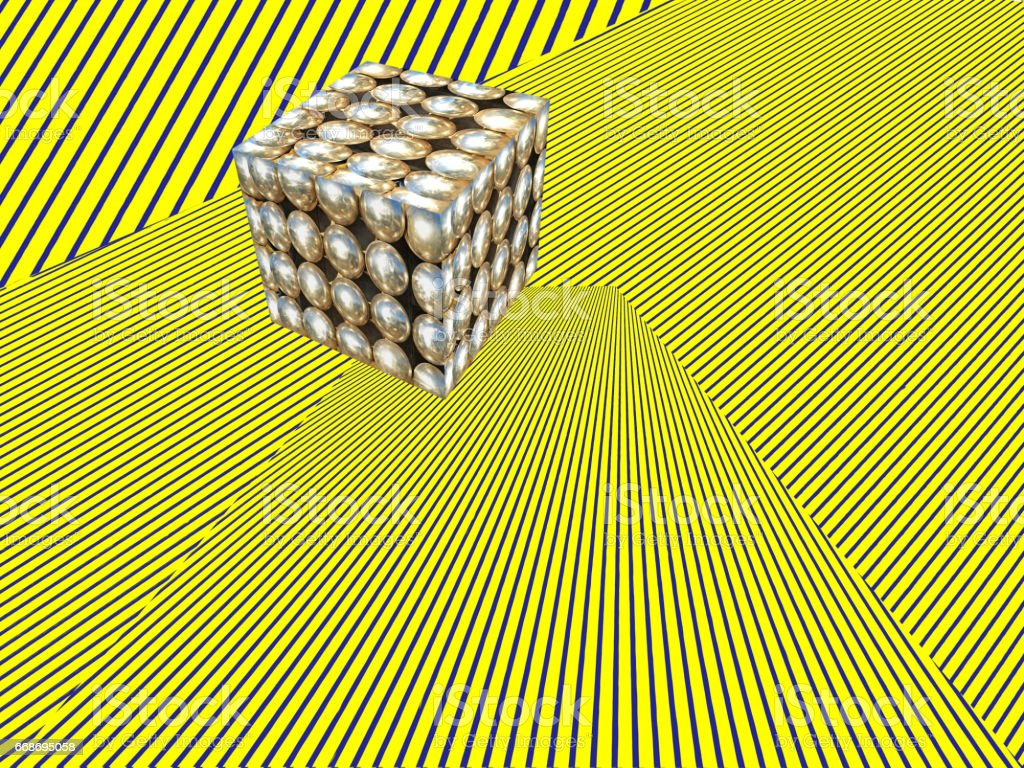 Cube shape on yellow striped pattern.Abstract modern Isometric background. vector art illustration