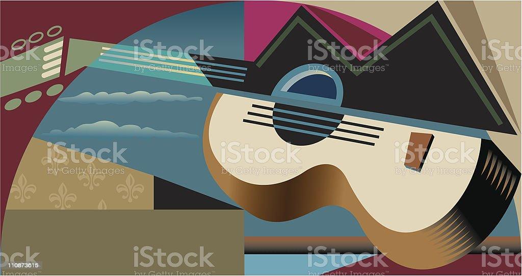 Cubist guitar vector art illustration