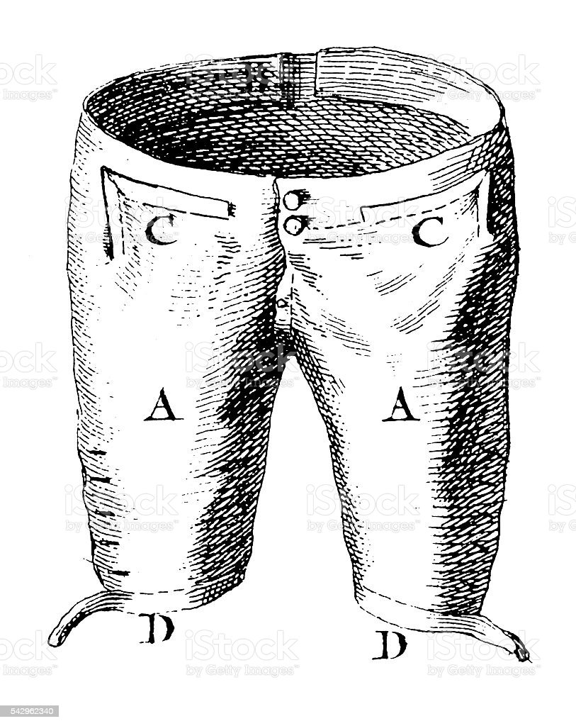 Culottes (antique engraving) stock photo