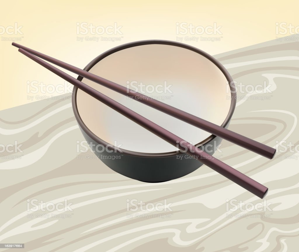 Cup and chopsticks royalty-free stock vector art