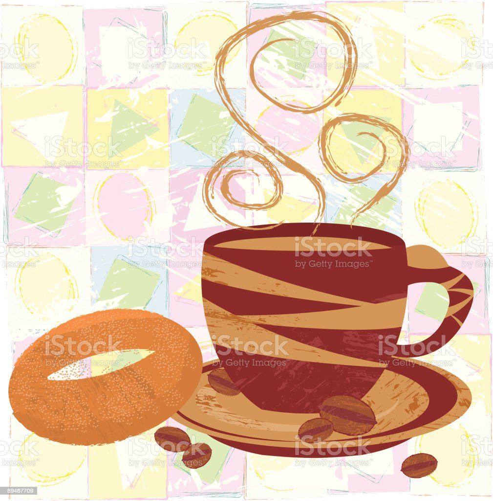 Cup of Coffee and Bagel royalty-free stock vector art