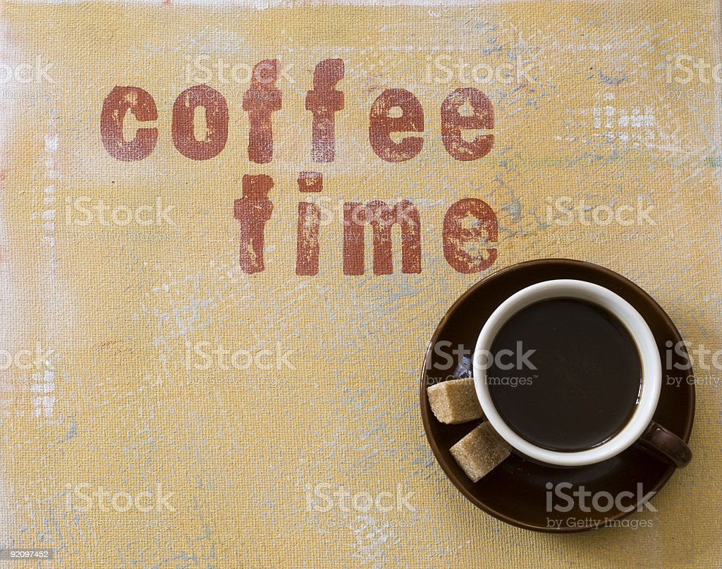 A cup of coffee with the sign saying coffee time  vector art illustration