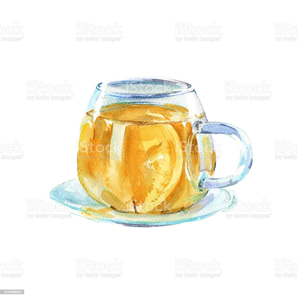 cup of green tea. isolated. watercolor illustration vector art illustration