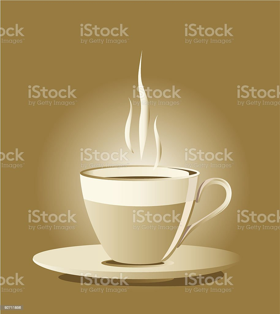 Cup of steaming hot coffee royalty-free stock vector art
