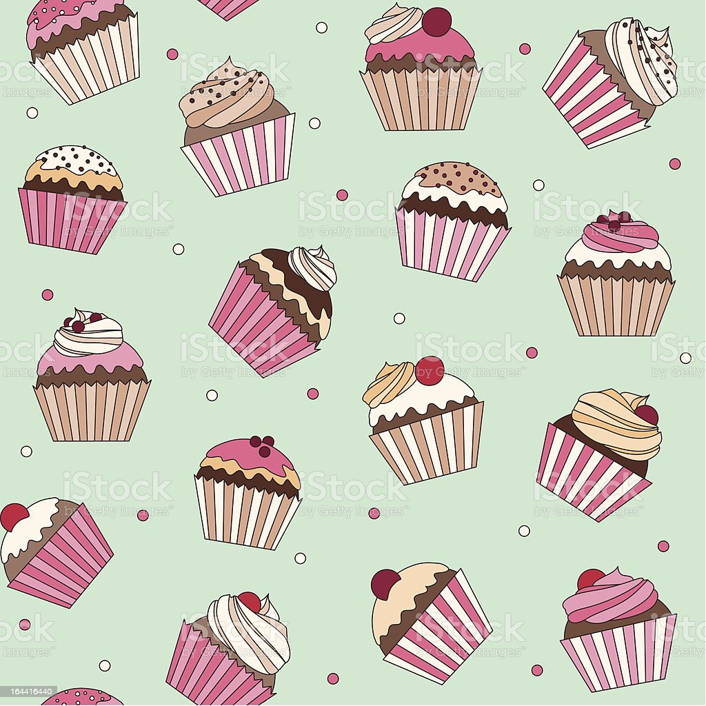 Cupcake seamless pattern royalty-free stock vector art