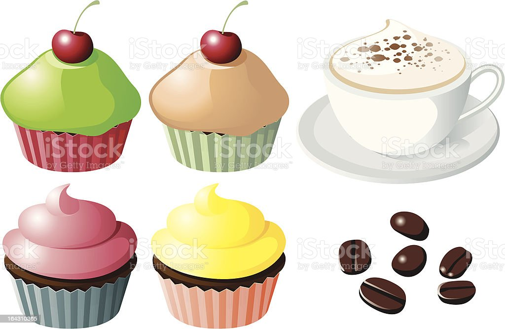 Cupcakes & Coffee royalty-free stock vector art