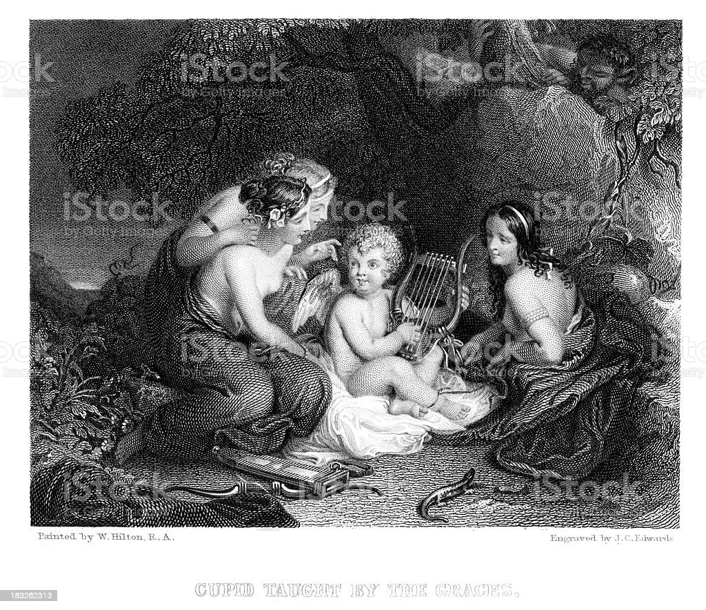 Cupid taught by the Three Graces royalty-free stock vector art