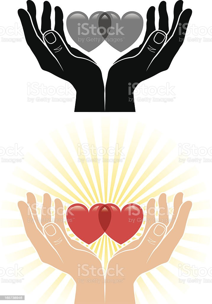 Cupped hands and hearts vector art illustration