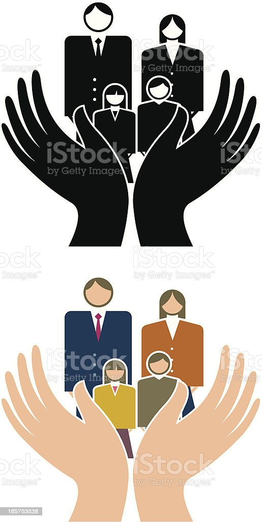 Cupped hands family vector art illustration