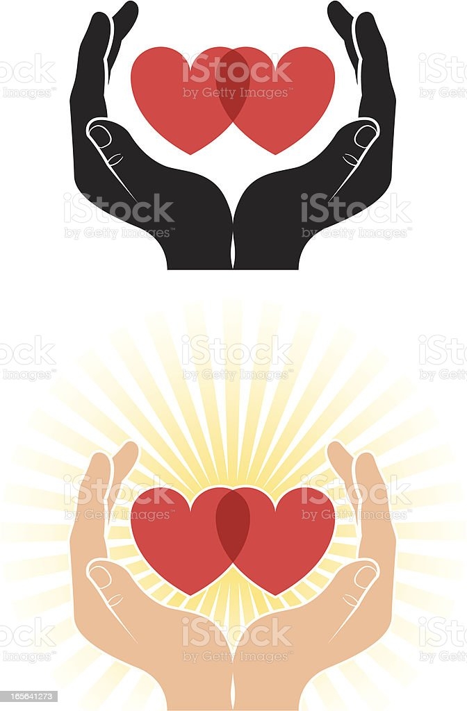 Cupped hearts vector art illustration