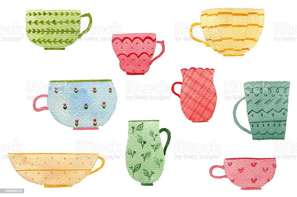 Cups Watercolor Set vector art illustration
