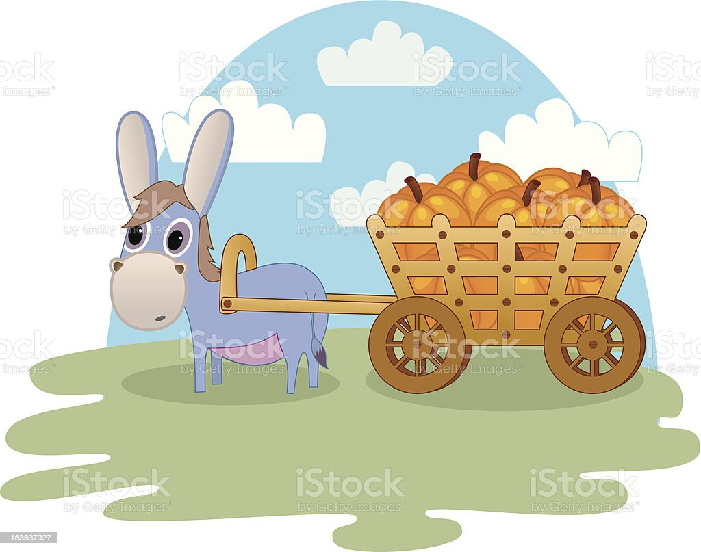 Curious donkey pulling a cart filled with pumpkins royalty-free stock vector art