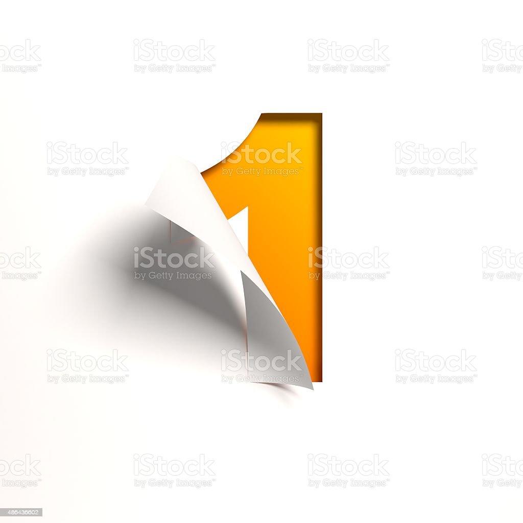 Curl paper font number 1 vector art illustration
