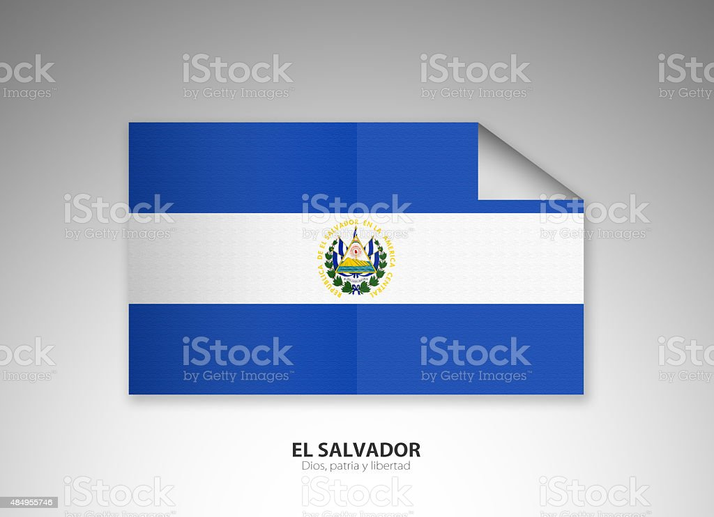 Curled Up Digital National Flag of El Salvador vector art illustration
