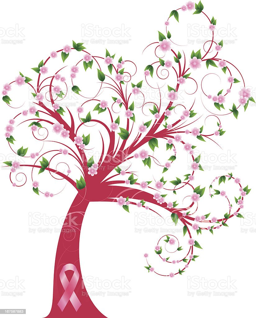 Curly breast cancer awareness tree royalty-free stock vector art