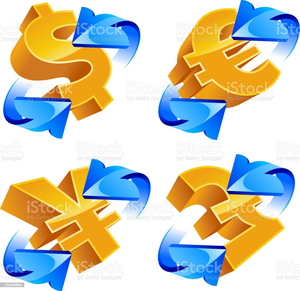 Currency, dollar, euro, yen, pound royalty-free stock vector art