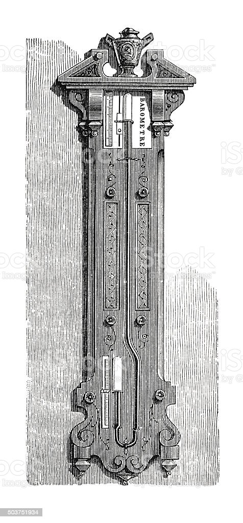 Curved barometer on stand (antique engraving) stock photo