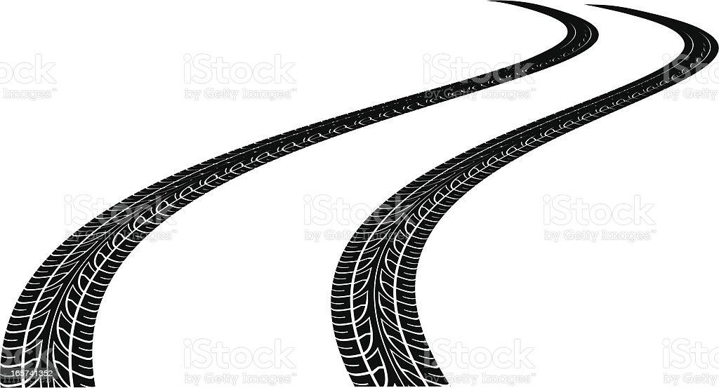 curved tire tracks vector art illustration