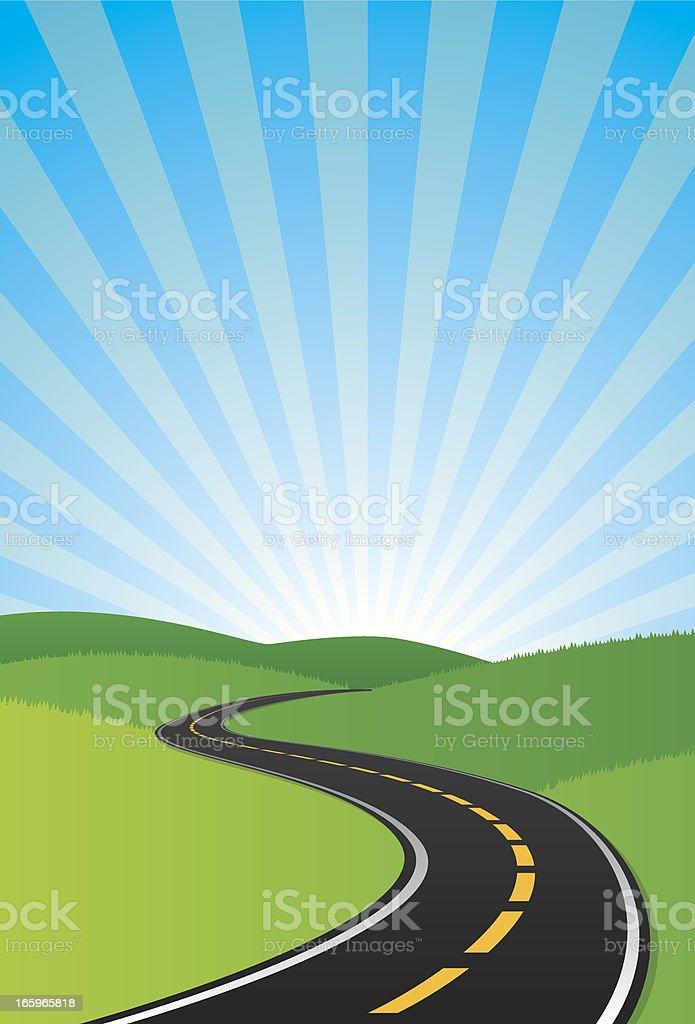 curvy road background vector art illustration