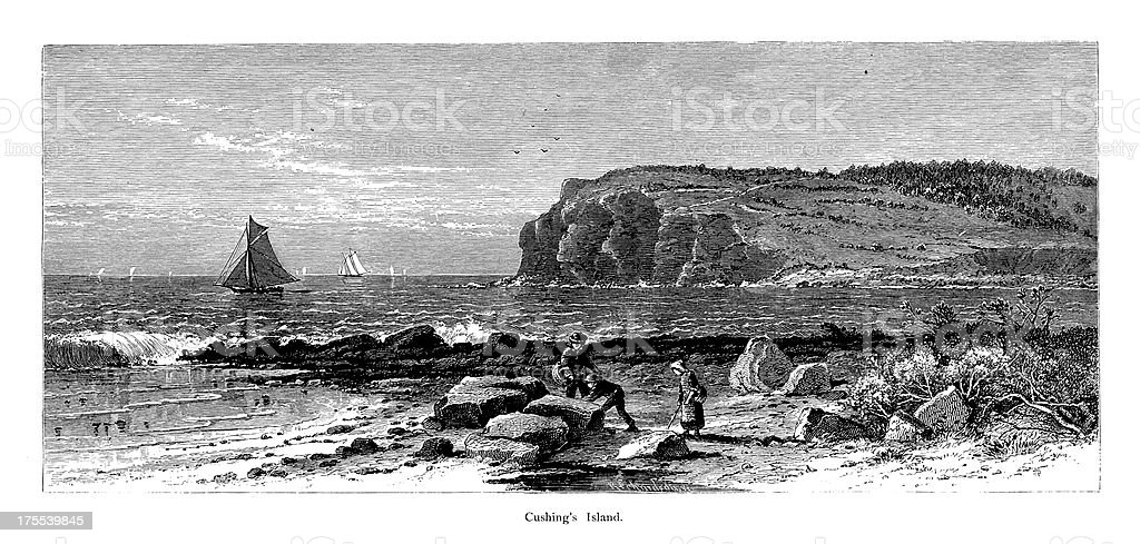 Cushing's Island, Maine | Historic American Illustrations royalty-free stock vector art