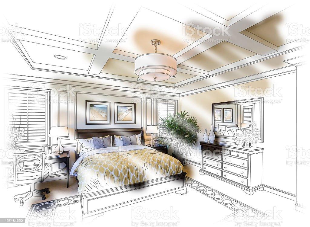 Custom Bedroom Design Drawing and Photo Combination vector art illustration