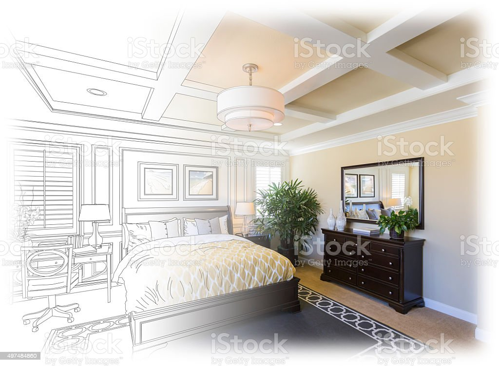 Custom Bedroom Drawing Gradation Into Photograph. vector art illustration