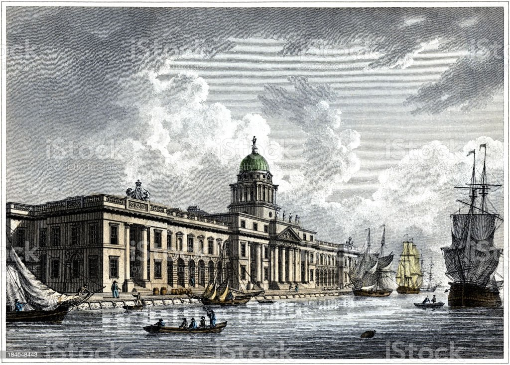 Custom House on the Thames, London, England, 1817 (Engraved illustration) royalty-free stock vector art