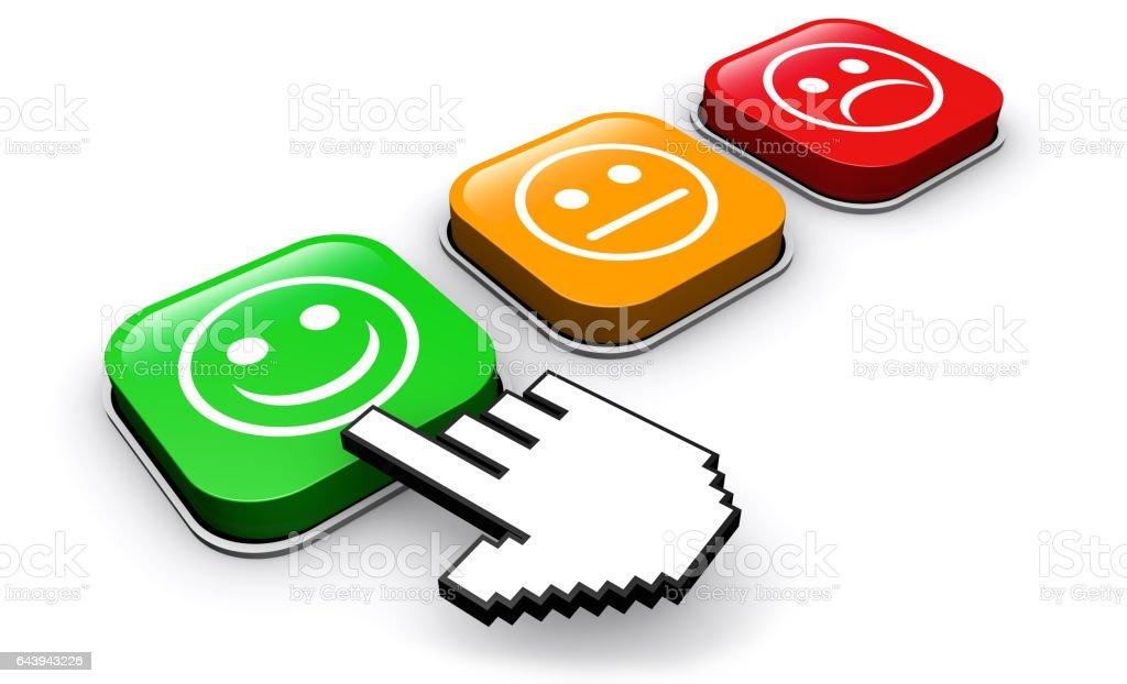 Customer Quality Survey Feedback Buttons vector art illustration