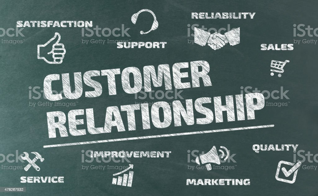 Customer Relationship Concept on Blackboard vector art illustration
