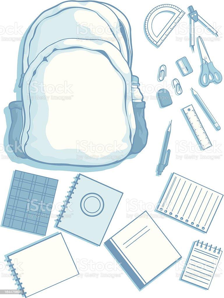 Customizable Vector Kits of School Bag and Supplies royalty-free stock vector art