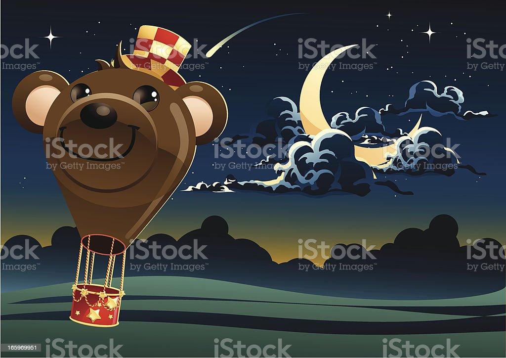 Cut Bear Hot Air Balloon vector art illustration