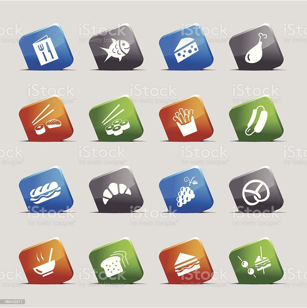 Cut Squares - Food Icons vector art illustration