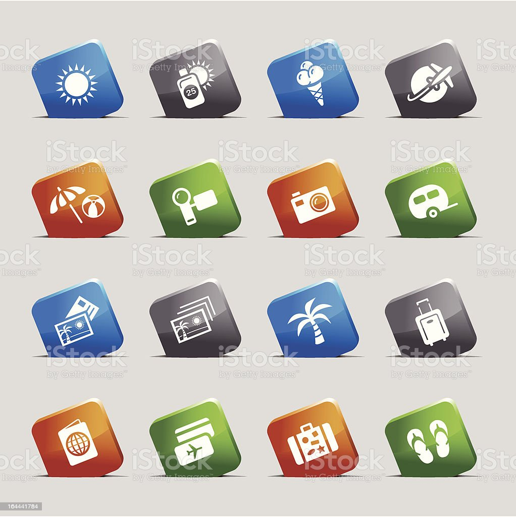 Cut Squares - Vacation icons royalty-free stock vector art
