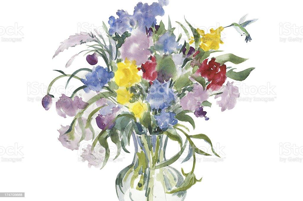 Cut Wildflowers and Hummingbird royalty-free stock vector art