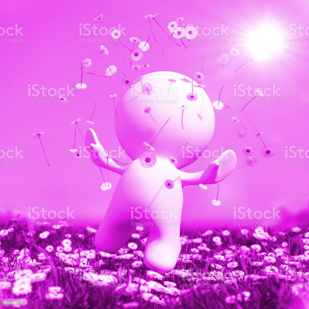 cute 3d person is jumping for joy and happiness on an idyllic meadow vector art illustration