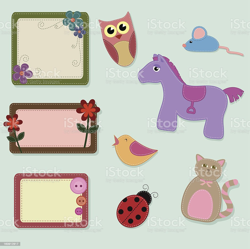 cute animal decorations royalty-free stock vector art
