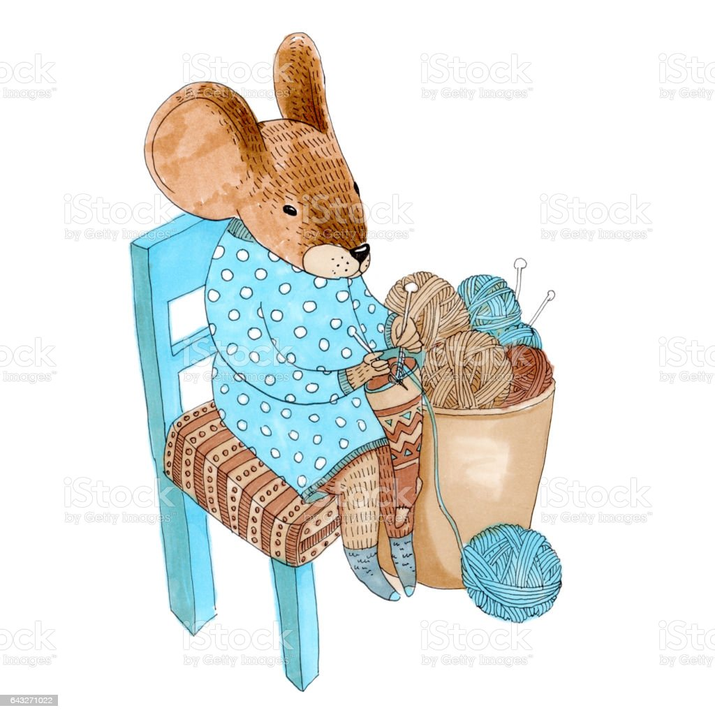 Cute Animal Like Humans. Humanized Animal. Dressed Mouse Sitting On A Chair,  Knitting