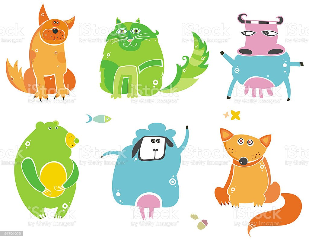 Cute animals royalty-free stock vector art