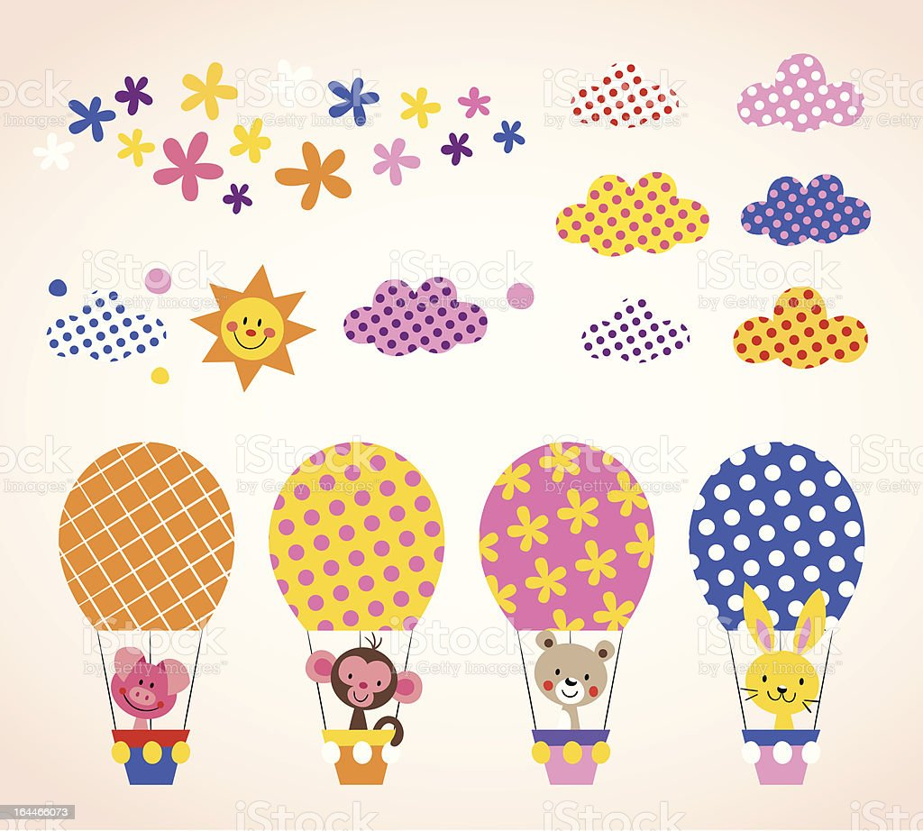 cute animals in hot air balloons royalty-free stock vector art